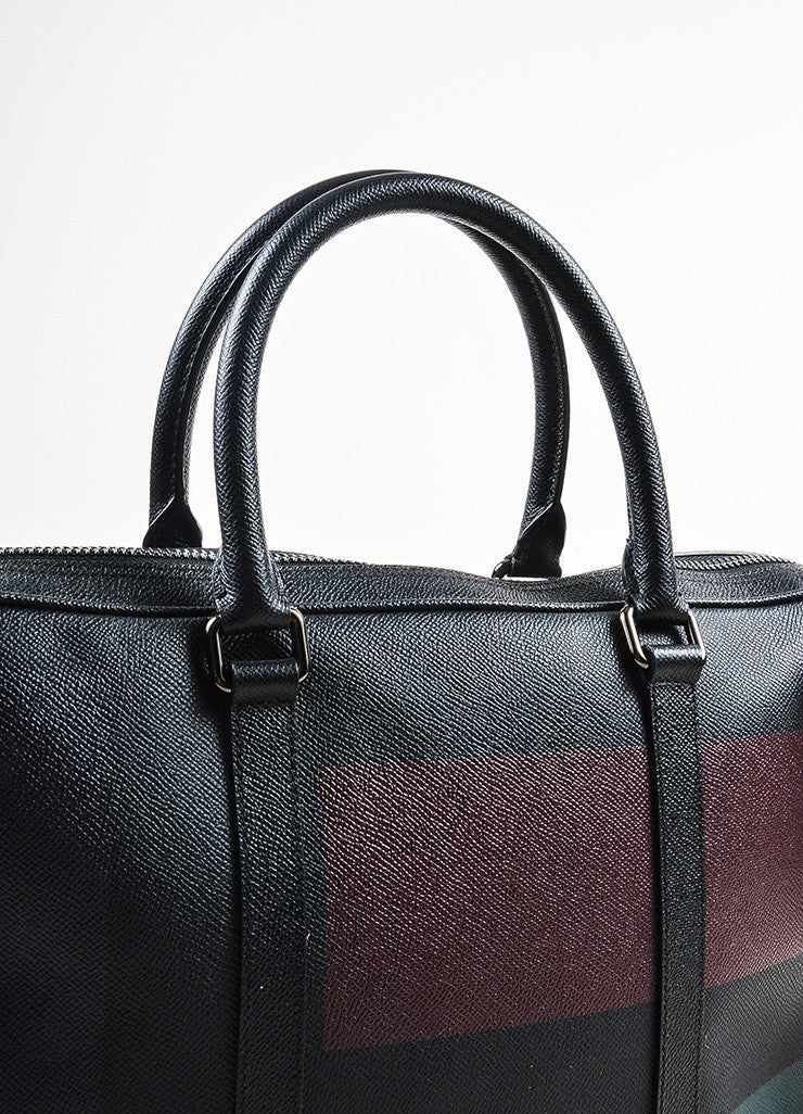 Men's Burberry Black, Green, and Red Coated Canvas and Leather Removable Strap Briefcase Detail 2