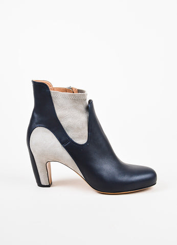 Maison Martin Margiela Navy Leather Light Gray Suede Ankle Booties Sideview