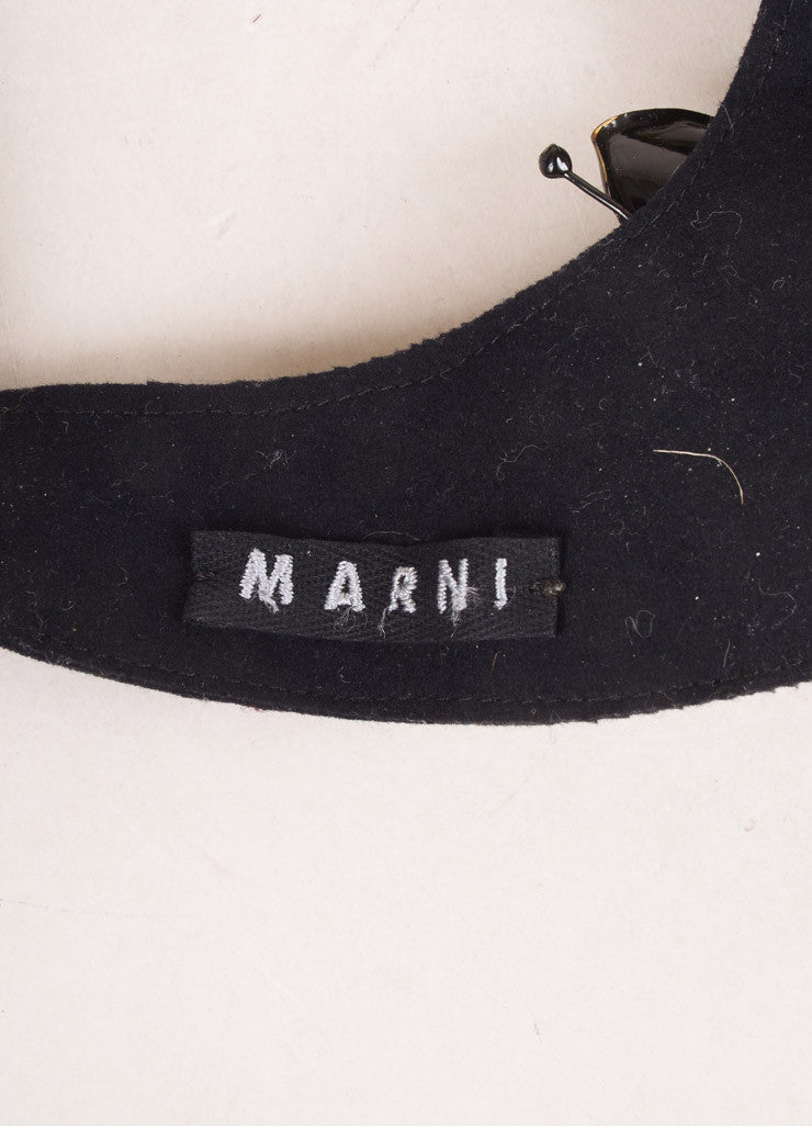 Marni Black and Green Felt Ribbon Stone Embellished Collar Necklace Brand