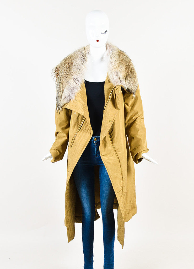 "Michael Kors ""Barley"" Tan Silk Coyote Fur Collar Trim Down Parka Coat Frontview"