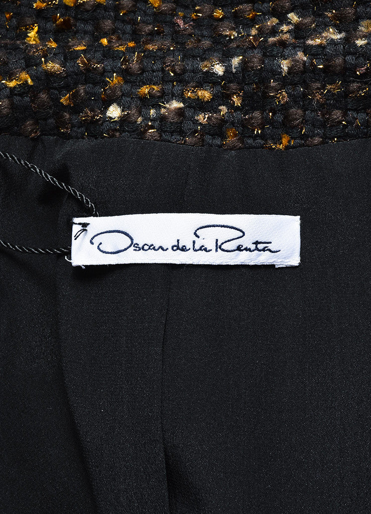 Black, Brown and Gold Oscar de la Renta Woven Tweed Jacket Brand