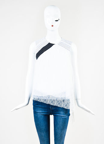 "Peter Pilotto White and Navy Smocked Lace ""Ozone"" Trapeze Sleeveless Top Frontview"