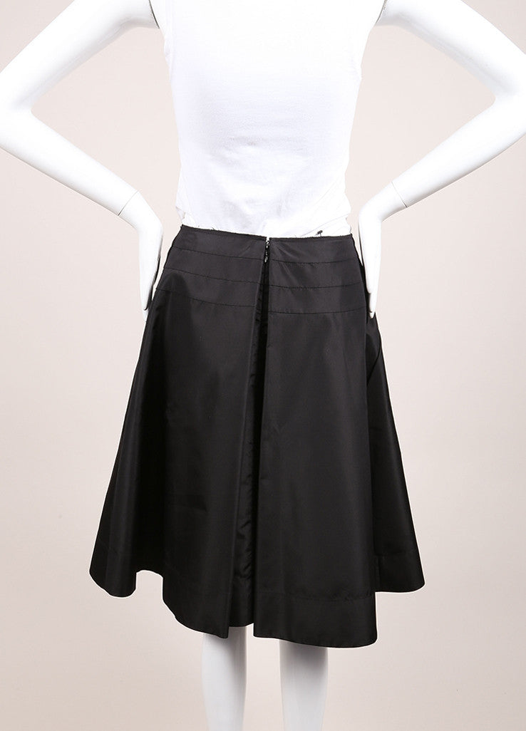 Prada Black Silk Pleated Bow A-Line Skirt Backview