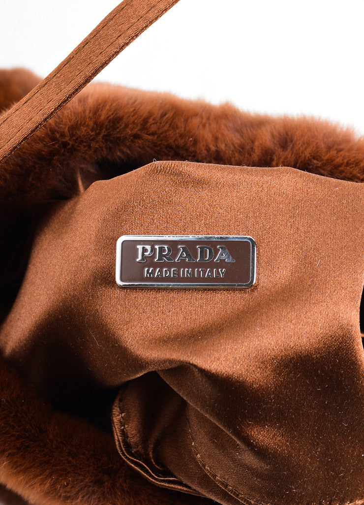 Prada Brown Fur Chiffon Mini Handbag Brand