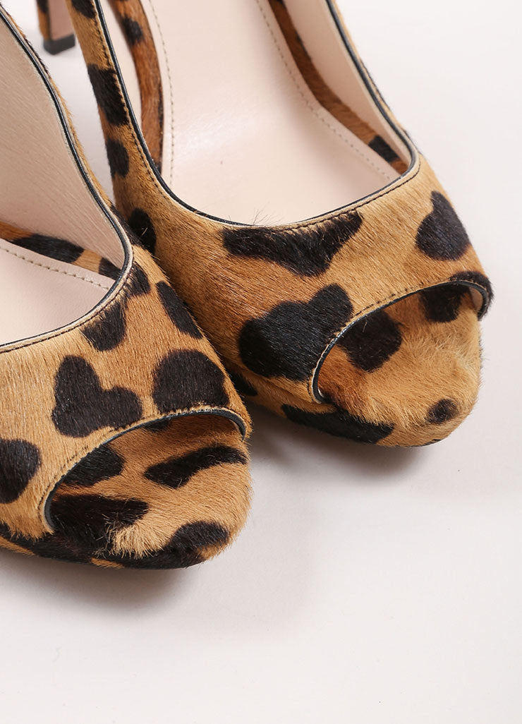 Prada Tan and Brown Pony Hair Leopard Print Peep Toe Platform Pumps Detail
