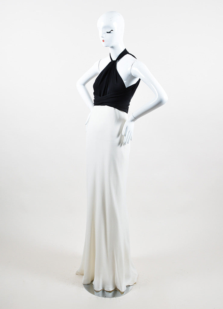 Cream and Black Ralph Lauren Silk Tie Draped Sleeveless Halter Gown Sideview
