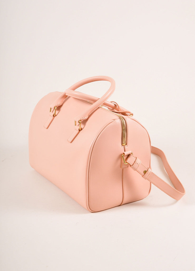 "Saint Laurent New With Tags Light Pink Leather ""Classic Duffle 6"" Handbag Sideview"