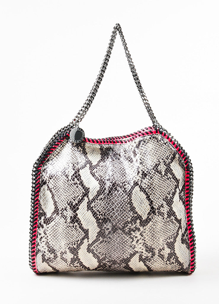 "Stella McCartney Grey and Neon Pink Python Print Faux Leather Chain ""Falabella"" Bag Frontview"