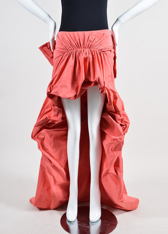 Coral Thakoon Ruched Tie Back Bustle High Low Skirt Frontview