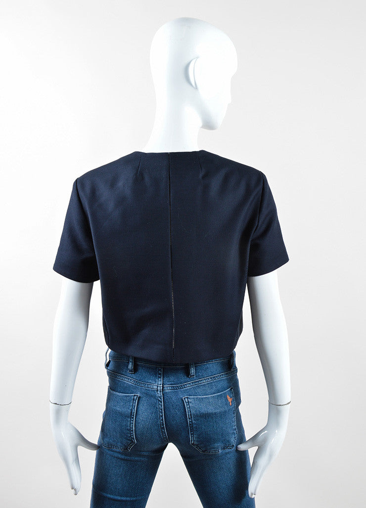 "The Row Navy Cotton Stitched Short Sleeve ""Lero"" Cropped Jacket Backview"