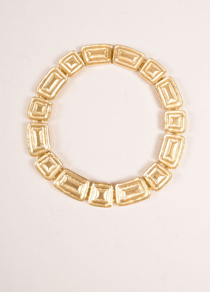 Alexis Kirk Gold Toned Geometric Shape Chain Link Choker Necklace Frontview