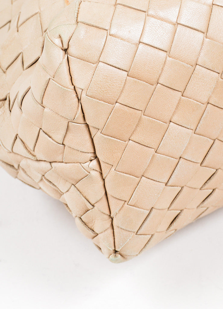 Beige Bottega Veneta Woven Intrecciato Leather Frame Shoulder Bag Detail