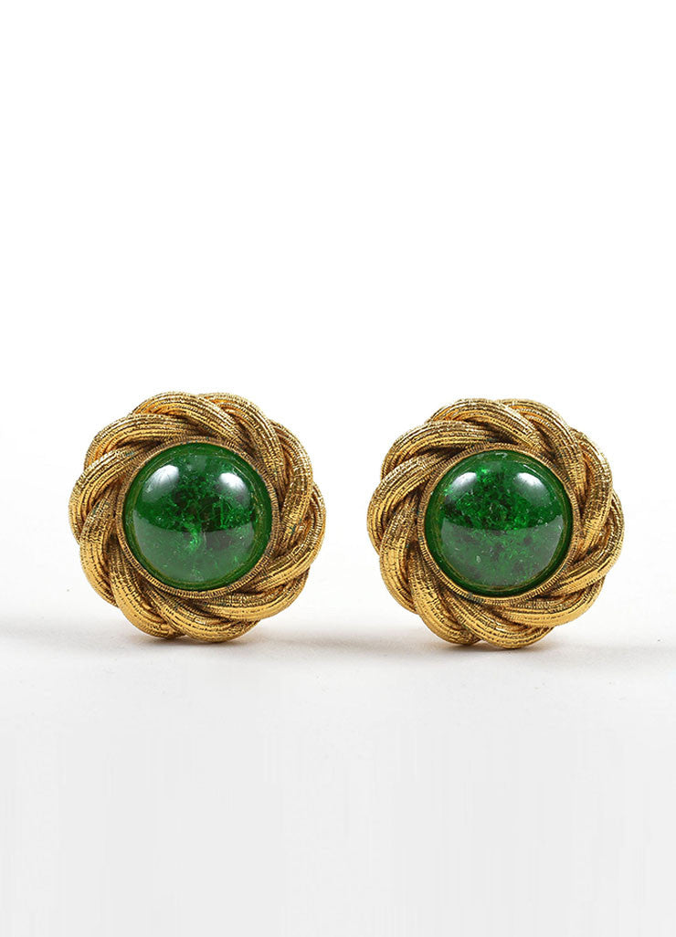 Gold Toned and Green Chanel Gripoix Glass Stone Clip On Button Earrings Frontview