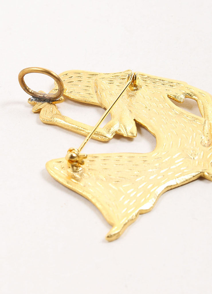 Vintage Gold Toned Woman Shaped Oversized Pendant Closure