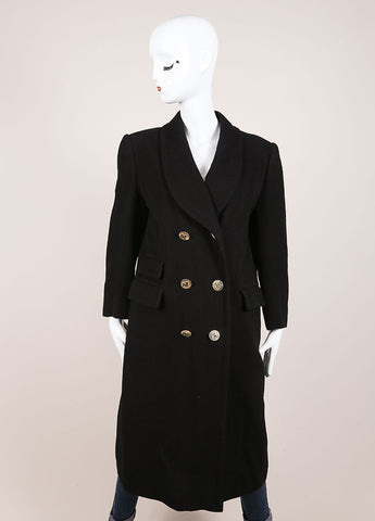 "Hermes Black ""H"" Button Double Breasted Longline Cashmere Coat Frontview"