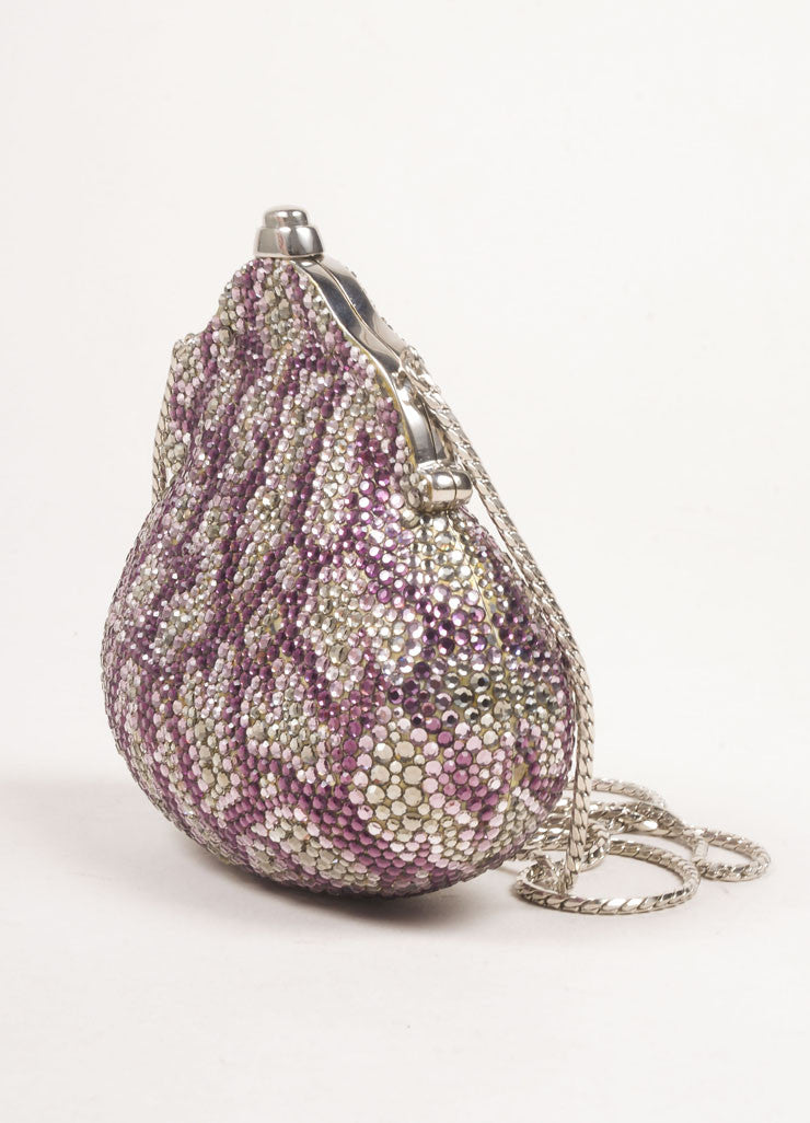 Judith Leiber Silver Toned and Purple Rhinestone Embellished Chain Strap Shell Clutch Bag Sideview