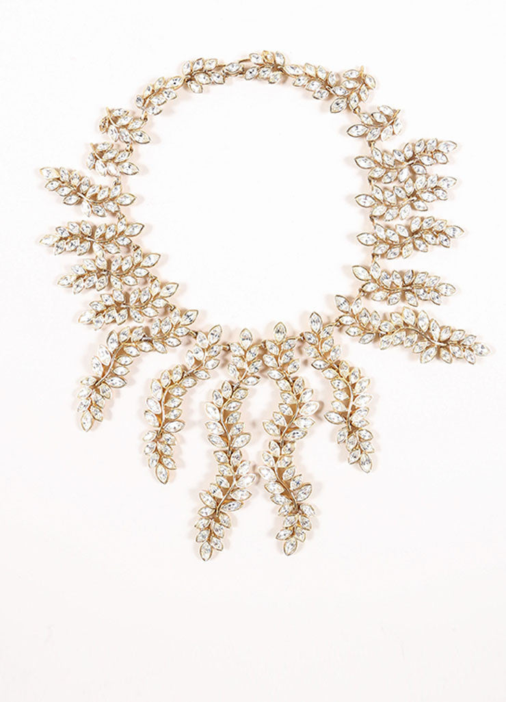 Kenneth Lane Gold Toned and Clear Rhinestone Leaf Statement Necklace Frontview