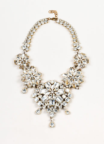 Lilien Czech Clear and Gold Toned Crystal Floret Statement Short Necklace Frontview