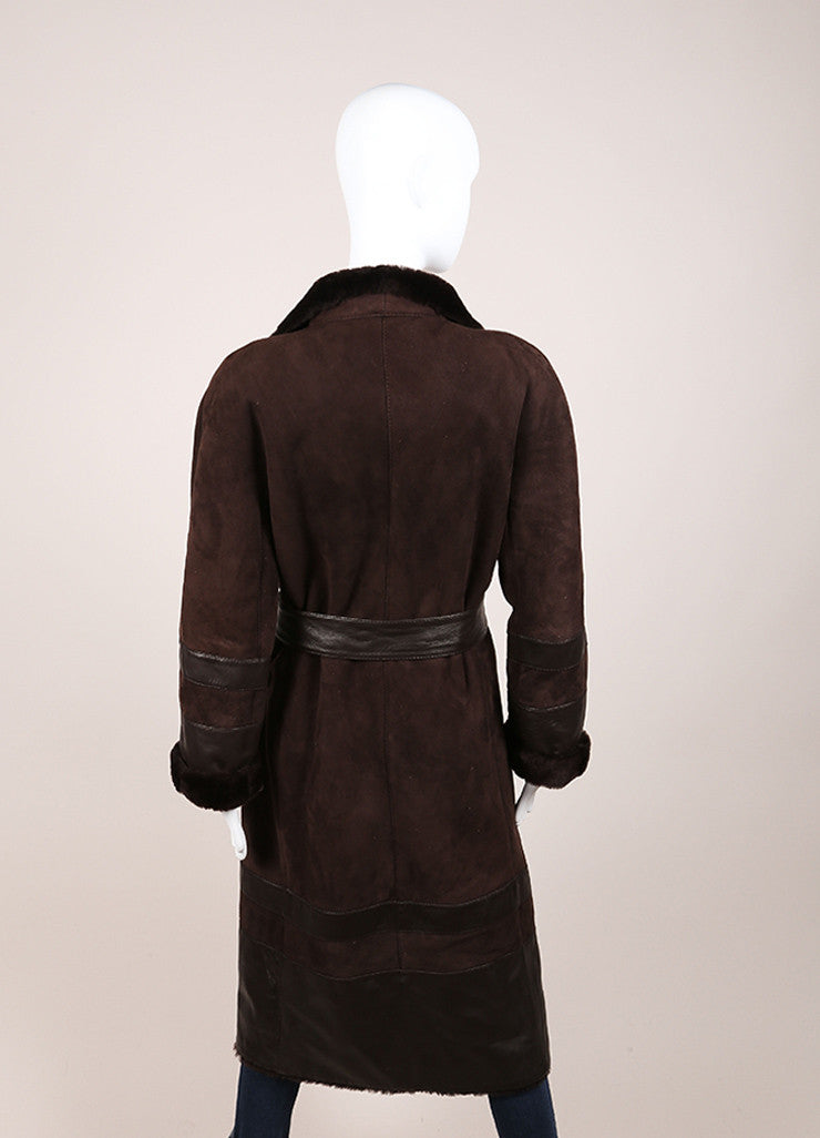 Valentino Dark Brown Suede Shearling Belted Long Coat Backview
