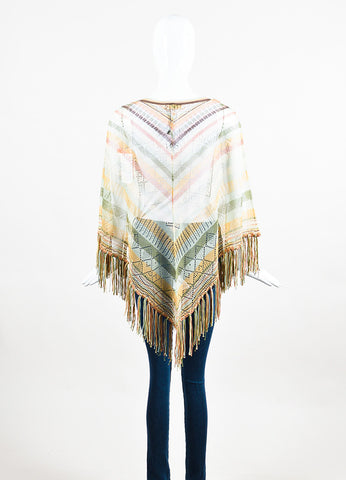 Brown, Cream and Green Valentino Silk Blend Striped Fringed Poncho Back