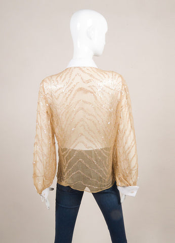 Valentino Nude and White Sequin Embellished Beaded Sheer Button Down Shirt Backview