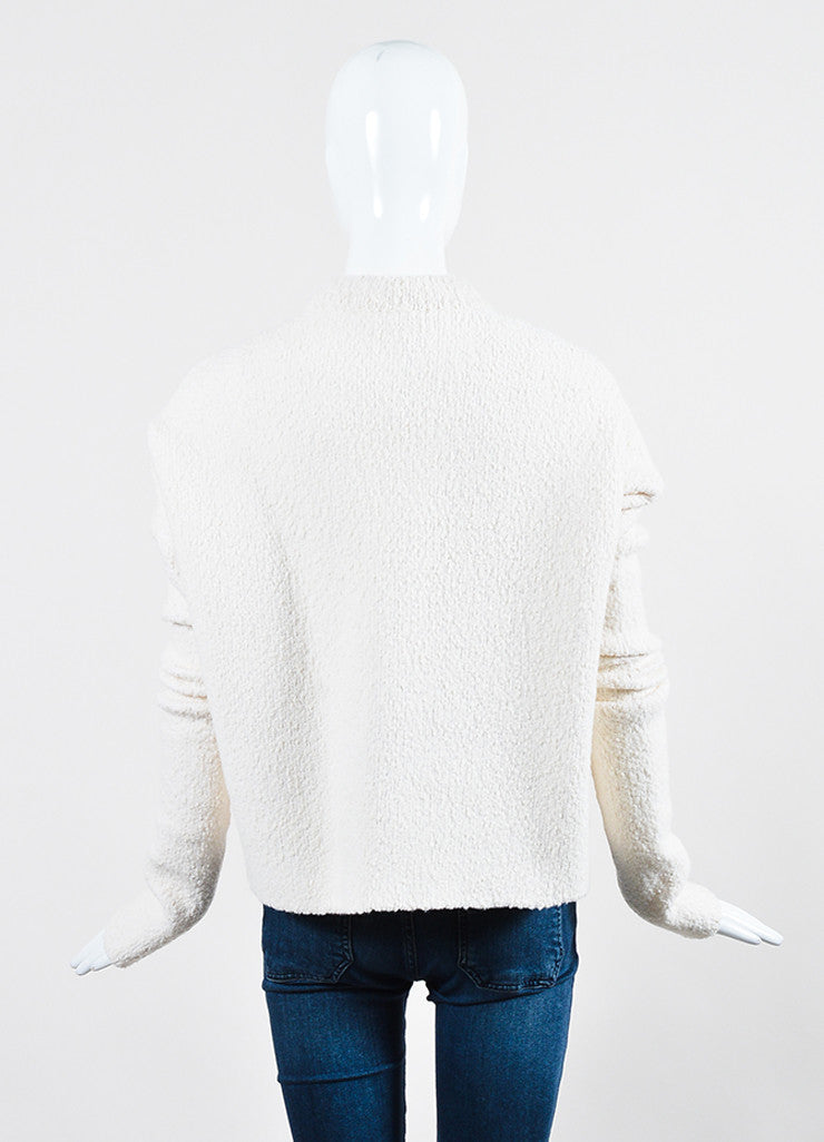 Cream and Black Victoria Beckham Wool Boucle Velvet Panel Sweater Backview