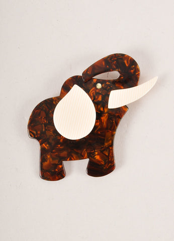 Lea Stein Brown Acetate Elephant Brooch Frontview