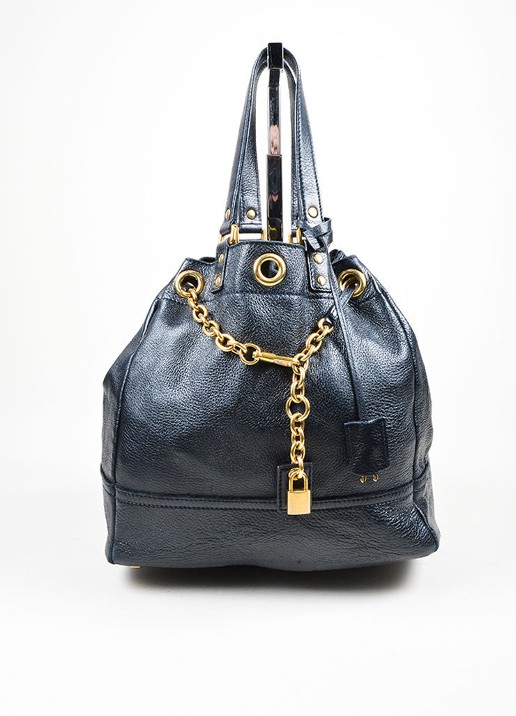 "Navy Leather Gold Toned Chain Drawstring Yves Saint Laurent ""Faubourg"" Tote Bag Frontview"