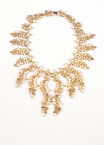 Vintage Gold Toned and Clear Rhinestone Leaf Statement Necklace Backview