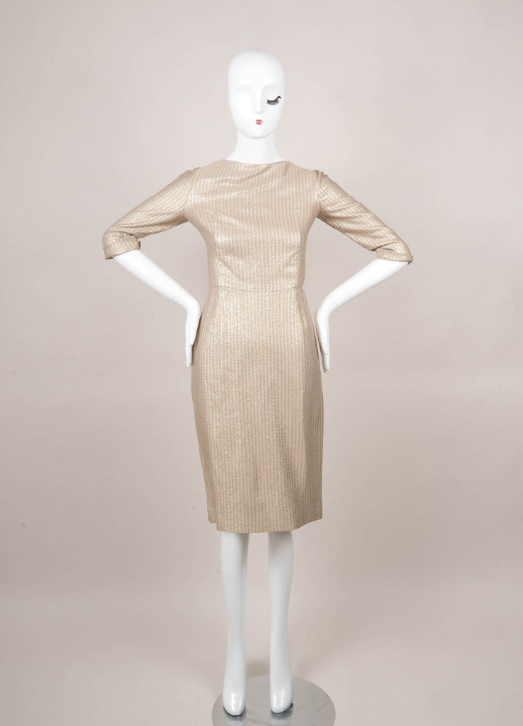 New With Tags Gold and Silver Metallic Striped Dress