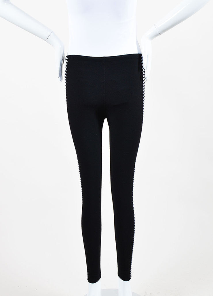 Black and White Alaia Triangle Print Stretch Leggings Backview