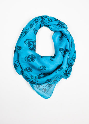 å´?ÌÜAlexander McQueen Teal and Navy Blue Skull Sheer Square Scarf Frontview