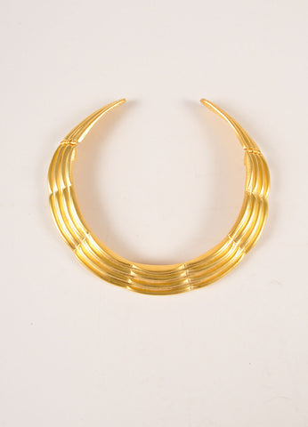 Alexis Kirk Gold Toned Textured Articulated Choker Necklace Frontview