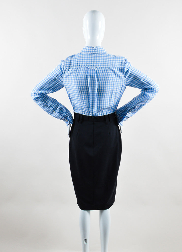 Altuzarra Blue, White, and Black Cotton and Silk Gingham Long Sleeve Shirt Dress Back