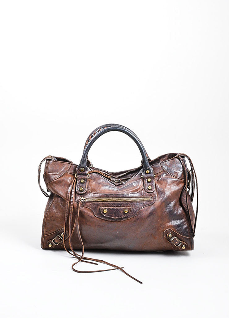 "Chocolate Brown Balenciaga Leather Stitch Handle Fringe ""Classic City"" Handbag Frontview"