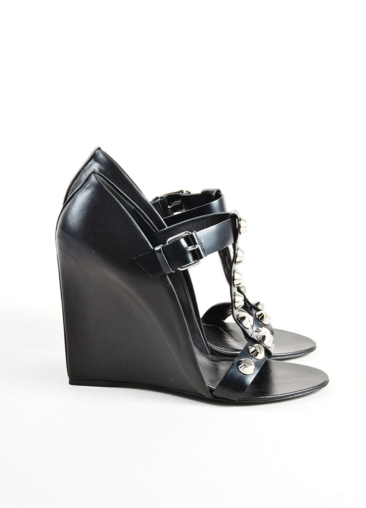 Balenciaga Black and Silver Leather Studded T Strap Wedges Sideview
