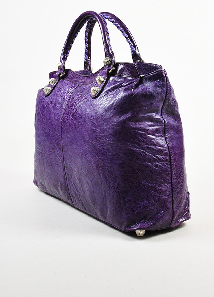 "Balenciaga Purple Wrinkled Distressed Leather Silver Toned Stud ""Giant Step"" Bag Sideview"