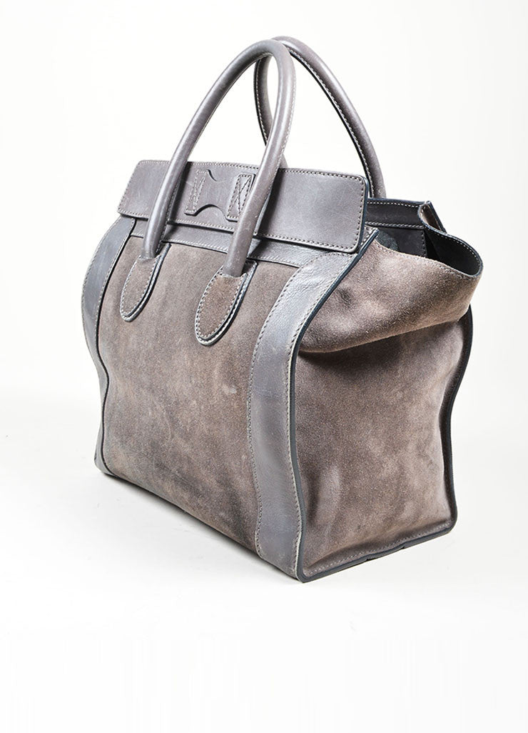 Grey Celine Suede and Leather Mini Luggage Tote Bag Sideview