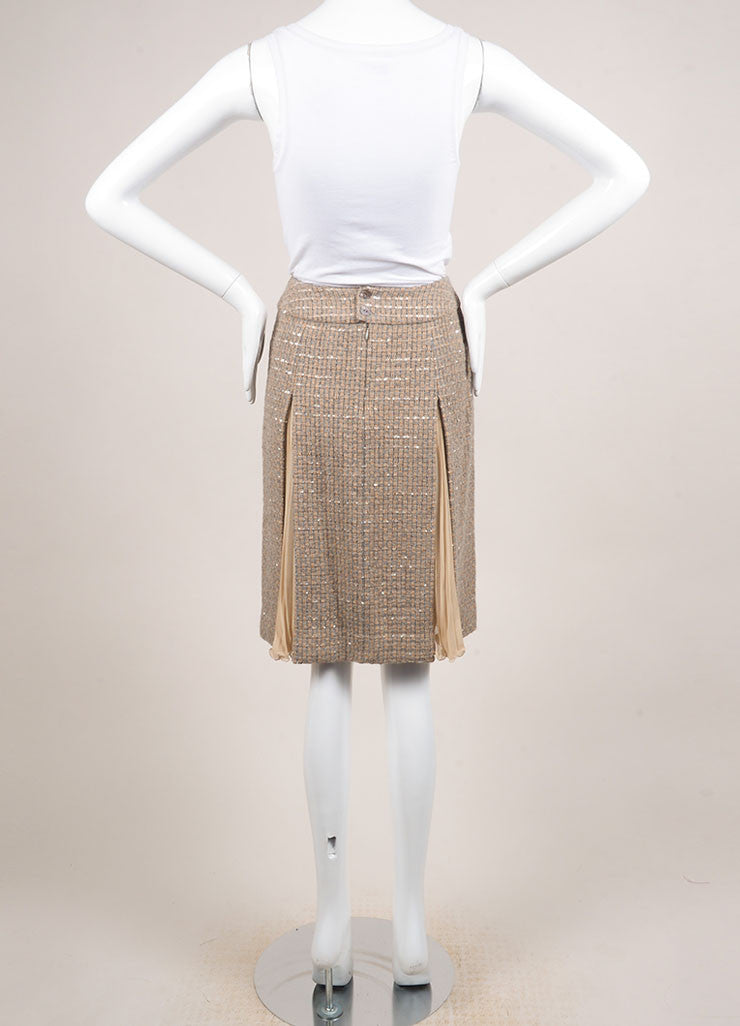 Chanel Tan and Grey Wool Blend and Silk Woven Sequin Embellished Pleated Skirt Backview