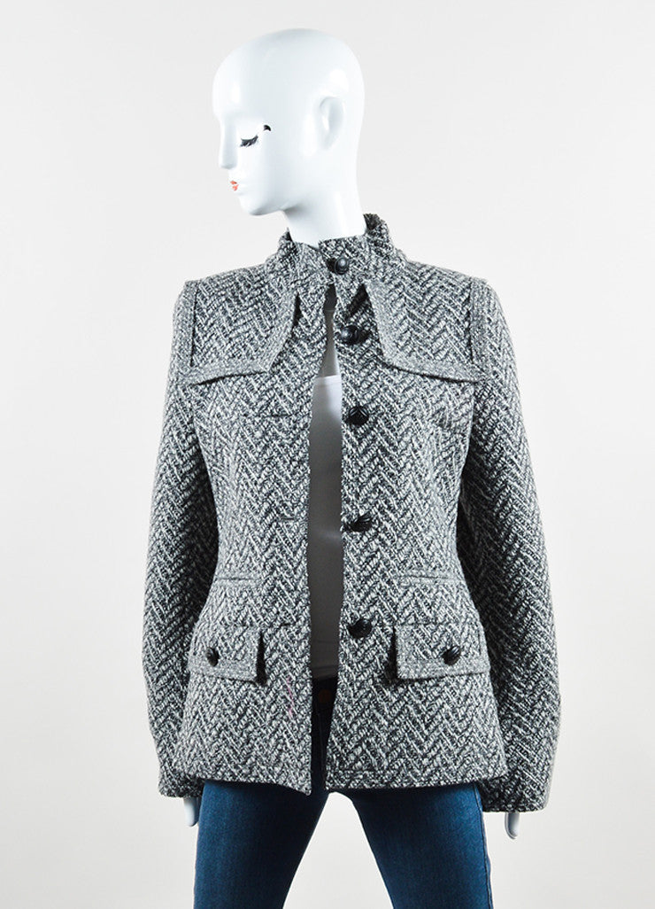 "Chanel Black and White Wool Tweed Zig Zag ""CC"" Button Down Coat Frontview"