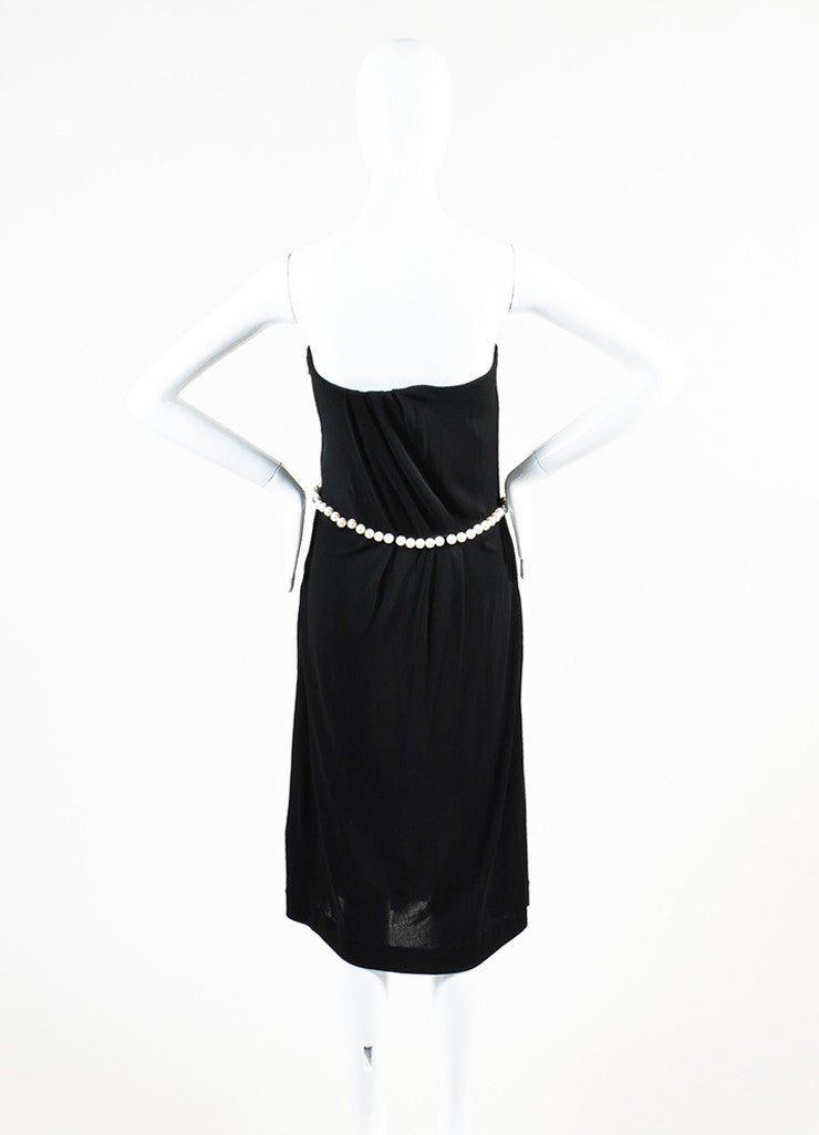 Chanel Black Crepe Jersey Faux Pearl Embellished Pleated Strapless Dress Backview