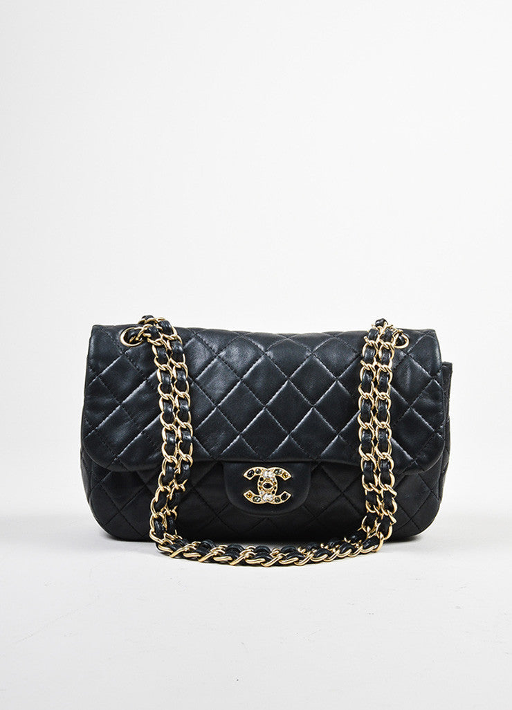 "Chanel Black Lambskin Quilted Flap Jewel ""CC"" Logo Chain Strap Bag"
