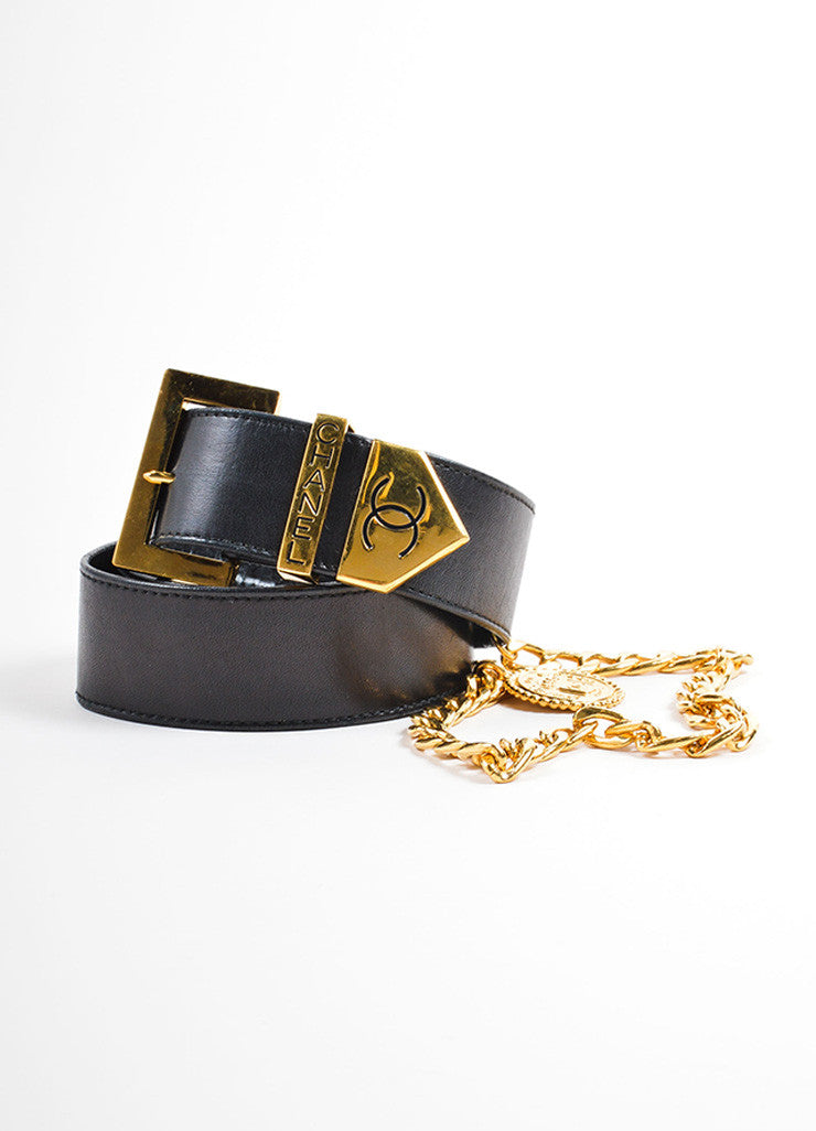 "Chanel Black Leather and Gold Toned Medallion Chain ""CC"" Belt Frontview"