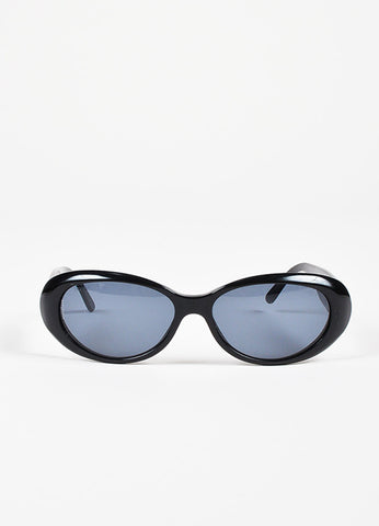 Chanel Black Tinted Lens Oval Frame Sunglasses Frontview