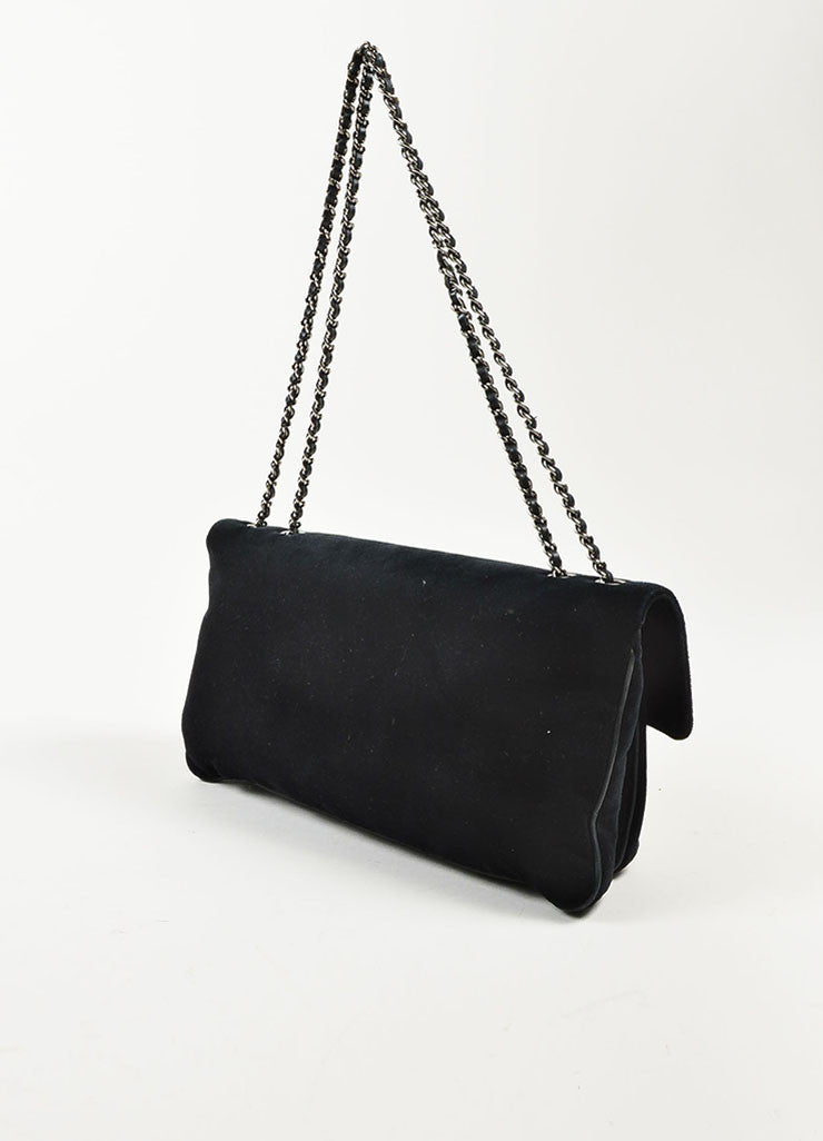 "Chanel Black Velvet Silver Toned Clasp Chain Strap ""Mademoiselle Flap"" Bag Sideview"