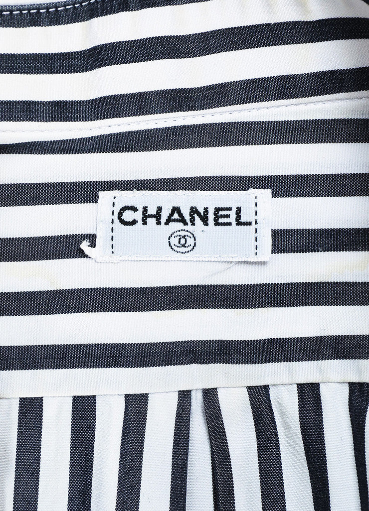 Chanel Black and White Striped Gold Toned 'CC' Button Down Shirt Brand