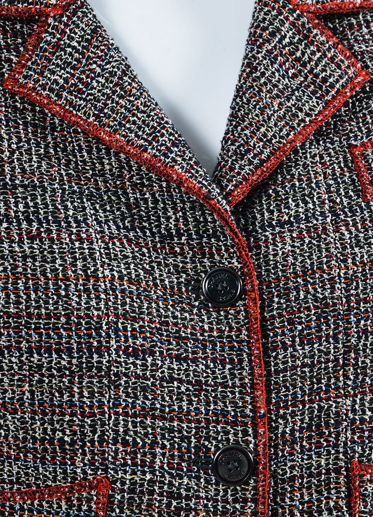 Black, White, and Red Chanel Tweed Structured Serged Trim Jacket Detail