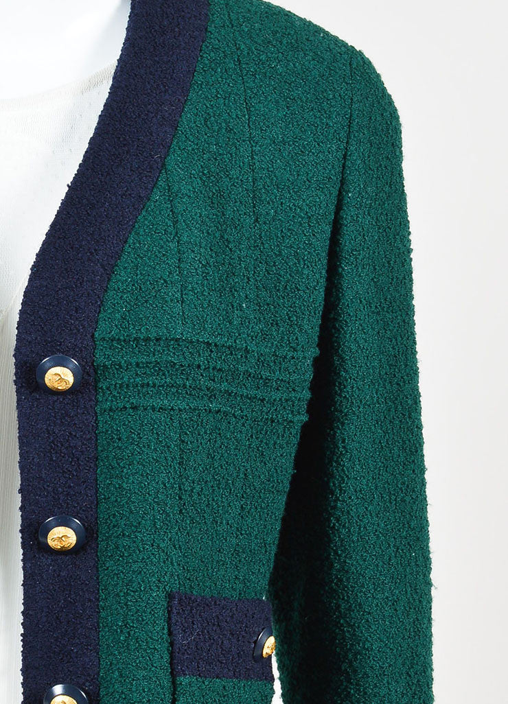 Chanel Forest Green and Navy Boucle Knit Embellished Button Blazer Jacket Detail