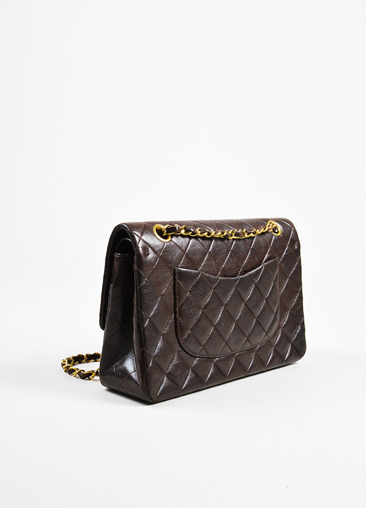 "äó¢íšíóChanel Brown Lambskin Gold Toned Turn Lock ""Medium Double Flap"" Bag Sideview"