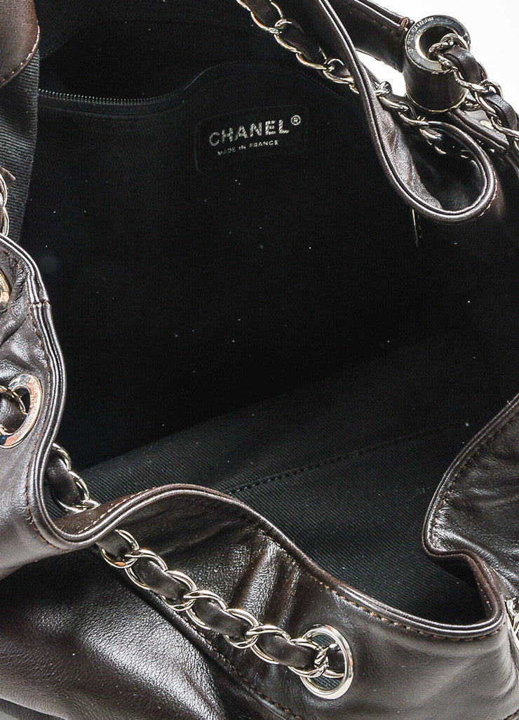 Brown Chanel Leather Diamond Stitching 'CC' Shoulder Bag Detail 4